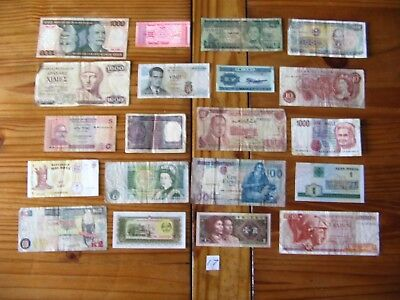 20x INTERESTING VINTAGE WORLD BANK NOTES ALL DIFFERENT AND IN USED CONDITION L17