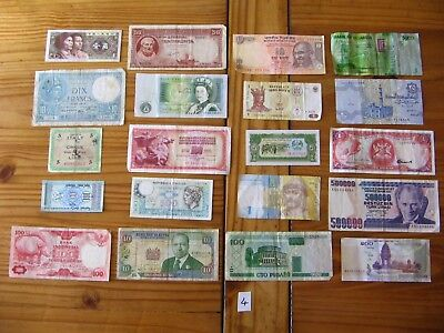 20x INTERESTING VINTAGE WORLD BANK NOTES ALL DIFFERENT AND IN USED CONDITION L4