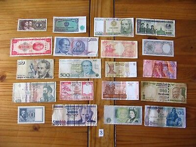 20x INTERESTING VINTAGE WORLD BANK NOTES ALL DIFFERENT AND IN USED CONDITION L8