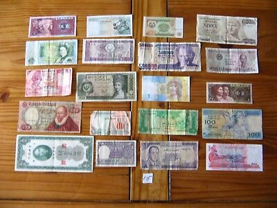 20x INTERESTING VINTAGE WORLD BANK NOTES ALL DIFFERENT AND IN USED CONDITION L15