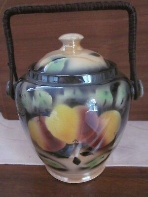 vintage english porcelain Lustre ware BISCUIT BARREL cane handle