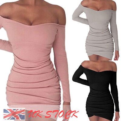UK Womens Bodycon Long Sleeve Dress Ladies Cocktail Party Evening Mini Dress