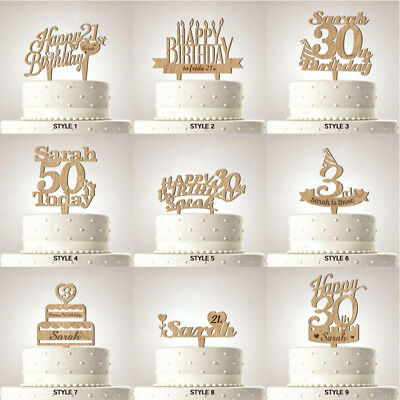 Personalised Happy Birthday Cake Topper Party Decoration With Any Name and Age