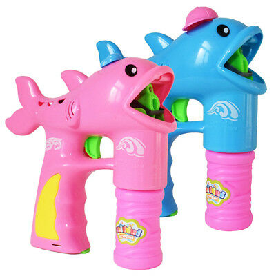 Cute Dolphin Shape Gun Bubble Blower with 2 Bubble Solution Outdoor Kids Toy
