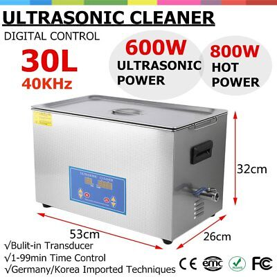 New Stainless Steel 30L Liter Industry Heated Ultrasonic Cleaner Heater Timer JB