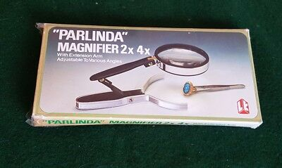 Vintage Parlinda Magnifier 2x 4x with extension arm in box