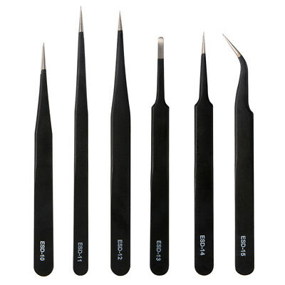 6x Professional ESD Non-Magnetic Stainless Steel Precision Pinzette Set HS1016