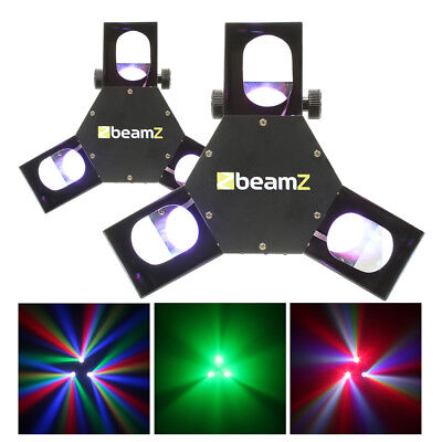 2x Beamz LED DMX Triple Flex Scanner Lights DJ Club Stage Lighting UK Stock
