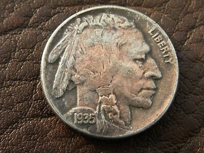 Authentic Circulated 1935 US Buffalo Indian Nickel coin full date horn XF A106