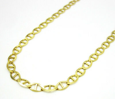 "Men's 14K Solid Yellow Gold 3MM Flat Mariner Link Chain Necklace 18"" - 24"""