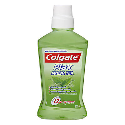 NEW Colgate Mouthwash Plax Wash Fresh Tea For Teeth And Gums 12 Hours 500ml