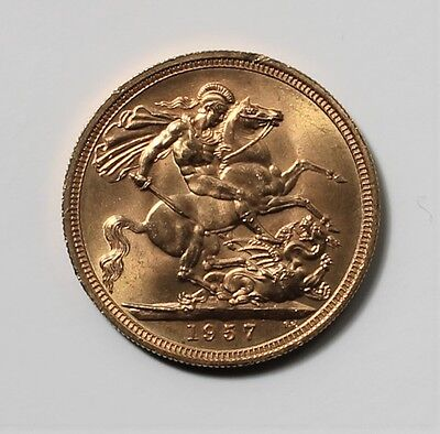 1957 UK full gold sovereigh - excellent condition