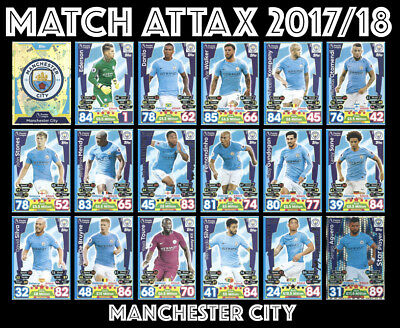 Match Attax 2017/18 17/18 Full 18 Card Team Set Manchester City