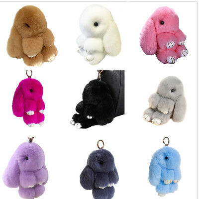 Real Rex Rabbit Fur Cute Bunny Pom Ball Doll Toy Handbag Pendant Bag Charms