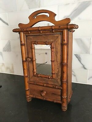 Antique Doll French Faux Bamboo Miniature Armoire