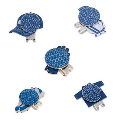 5PCS MAGNETIC VISOR & HAT CLIPS with GOLF BALL MARKER GOLFER GIFT BLUE