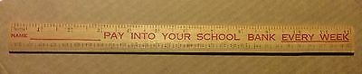 THE STATE SAVINGS BANK of VICTORIA wooden school ruler - 1960s? - unused