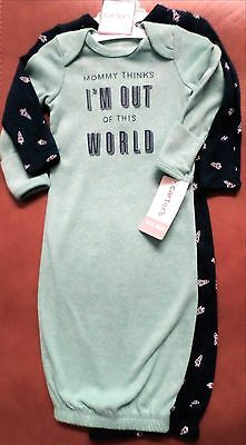 Carter's Baby Boys Newborn Gowns Set/2 Rockets-'Out of this World'  Green/Navy