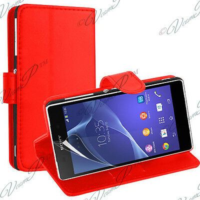 Etui Housse Coque Pochette Portefeuille Support Video Cuir ROUGE Sony Xperia M2