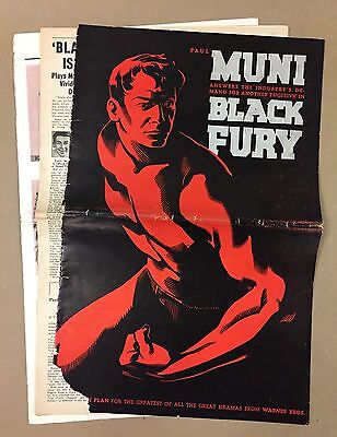 Black Fury Paul Muni Press Pack Poster Artwork Advertising Kit 1935 Publicity