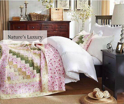 Bedspread set-Country Square Patchwork Quilt-2PC-Cotton-HandMade-Single Double