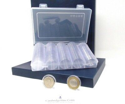 100 Coin Capsules Holders Storage Perfect For 50p £2 30 mm Storage with Box Kew