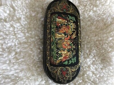 Vintage Russian Handpainted Laquer Box Or Glasses Case