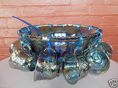 Indiana Glass Blue Carnival Harvest Princess Grape Punch Bowl & Cups 26 pc Set