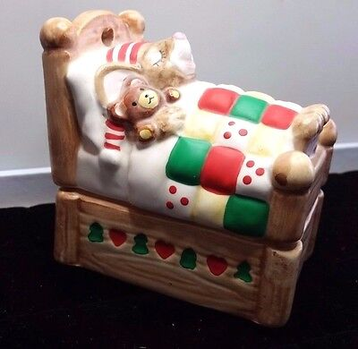 Vintage Night before Christmas Ceramic mouse trinket box