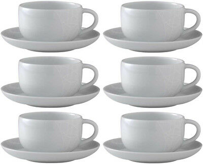 QUEENS JAMIE OLIVER WHITE 6 x TEACUPS & SAUCERS (COMFY) 300ml - BRAND NEW/UNUSED