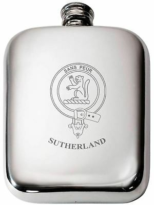 SUTHERLAND SCOTTISH CLAN Crest Name Pewter Hip Flask 6oz
