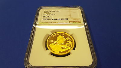 China Panda Gold 50Y small date 1998 in excellent MINT STATE approved NGC MS 68