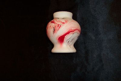 Vintage USA Nemadji Art Pottery Small Bright Red Swirl Vase, 3.5 inch high