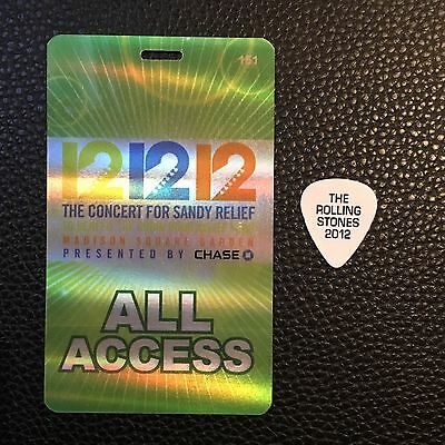 The Rolling Stones -Keith Richards 12/12/12 Sandy Msg Backstage Pass&guitar Pick