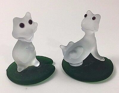 Two (2) Frosted Glass Frogs on Green Lily Pad Small Figurines Hand Blown Art