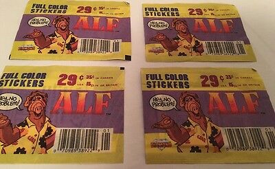4 Vintage 1987 ALF Full Color Diamond Stickers RARE