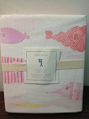 NWT Pottery Barn Kids Funny Fish Twin 3 piece Sheet Set Pink Girl's Ocean Beach