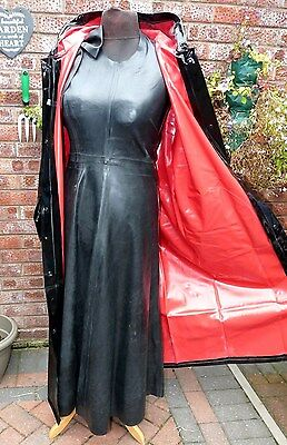 sexy shiny black & red PC hooded raincoat size MED  heavy pvc superb Tv fit