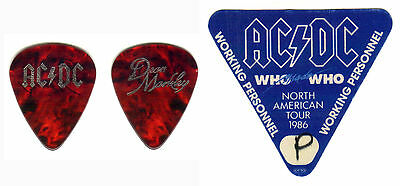 Ac/dc-Angus & Malcolm Young -1986 Who Made Who Tour Guitar Pick & Backstage Pass