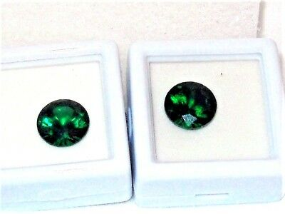 Russian Chrome Diopside set of 2  round cut loose gems 10 mm genuine