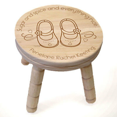 Personalised Little Girls Wooden Stool Childrens Bedroom Home Furniture Gift New