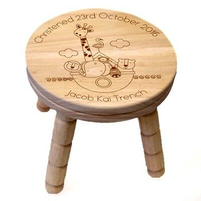 Personalised Noahs Ark Wooden Stool Childrens Bedroom Home Furniture Kids Gift