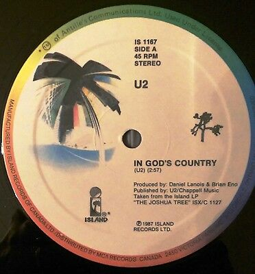 "U2 In god's Country -Canada Canadian- Rare Vinyl 12"" taken from the Joshua Tree"