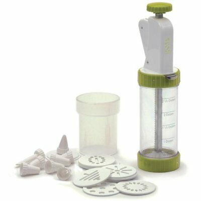 NEW - RSVP White and Green Cookie Press Plus - FREE SHIPPING