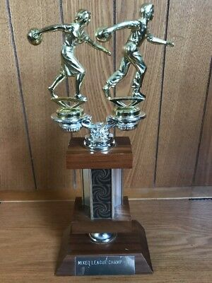 Vtg 1960s Bowling Trophy Mixed Doubles Team Social League Wood With Slide Plate