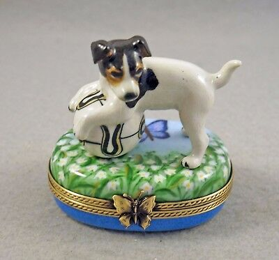 New French Limoges Box Jack Russell Terrier Dog Puppy On Lily Of The Valley