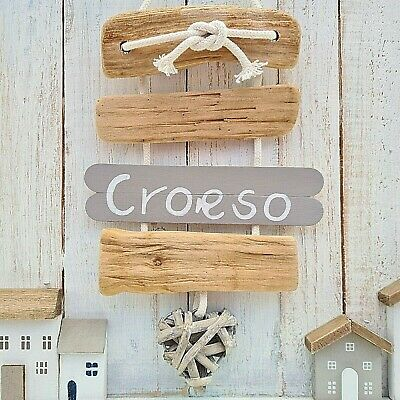 Chic Shabby Nautical Driftwood Wooden Welsh Croeso Welcome Wicker Heart Plaque