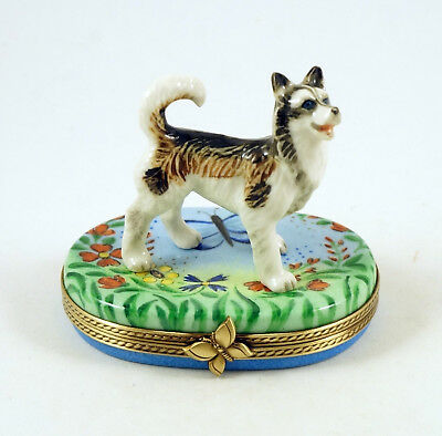 New French Limoges Trinket Box Alaskan Malamute Husky Dog In Butterfly Garden