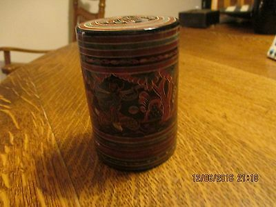 Antique Japanese Lacquer Box Buomise (tea caddy) 1920s Handpainted