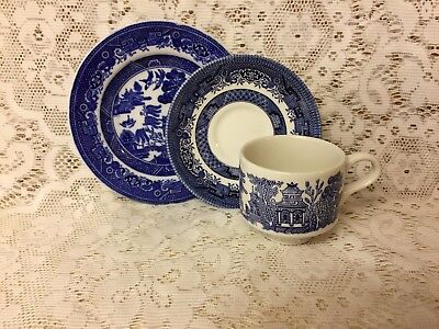 Blue & White Willow Pattern Cup, Saucer & Side Plate ~ Trio